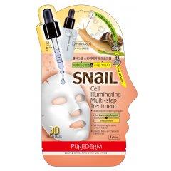 Purederm Pleťová regenerační maska pro prozáření pokožky se šnečím extraktem, Ampule+3D maska, 1 ks