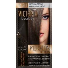Victoria Beauty Keratin Therapy Tónovací šampón na vlasy V 21, Medium brown, 4-8 umytí