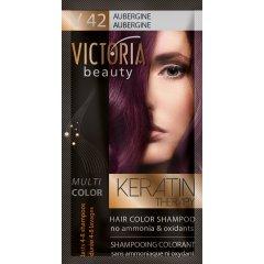 Victoria Beauty Keratin Therapy Tónovací šampón na vlasy V 42, Aubergine, 4-8 umytí