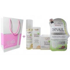 Victoria Beauty Natural snail HYDRA-REST Dárkový balíček Pleťové sérum, pleťový krém, micelární voda, pleťová maska 4 ks